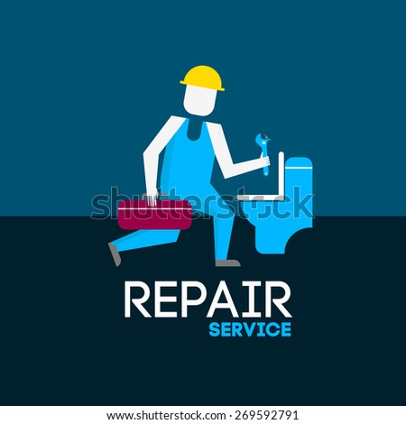 abstract vector illustration repair service  - stock photo