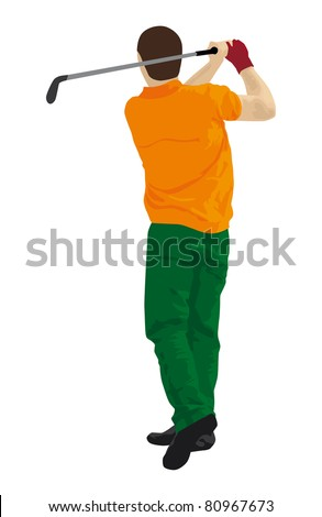 abstract vector silhouette of a golf player - stock photo