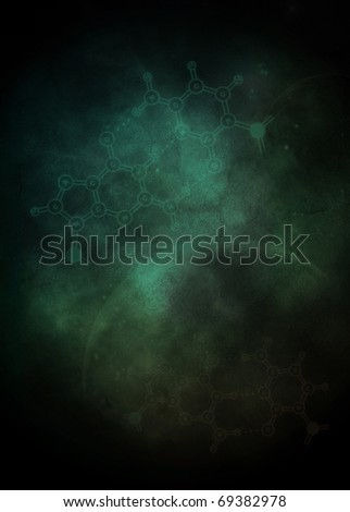 Abstract vertical background with chemical elements; digital illustration - stock photo
