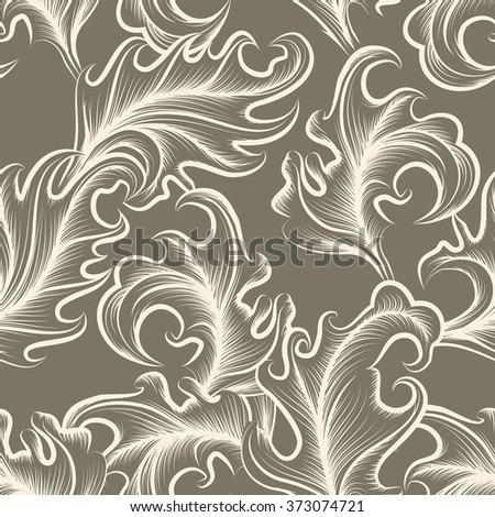 Abstract victorian floral seamless pattern. - stock photo