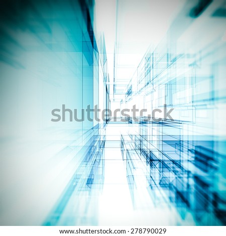 Abstract view. Building design and 3d model my own - stock photo