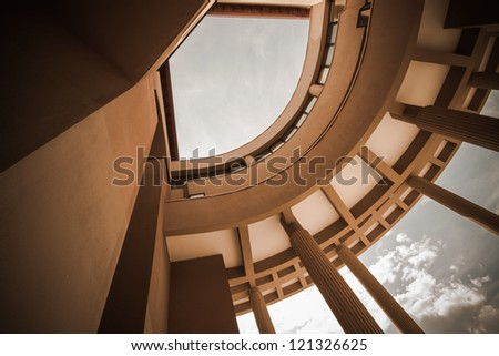 Abstract view of a building with nice, modern,interesting architecture