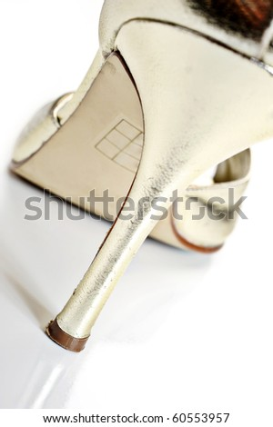 Abstract view of a ladys shoe with abstract color and box in background - stock photo