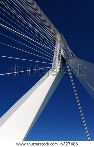 Abstract view of a large suspension bridge - stock photo