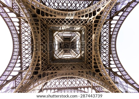 abstract view of details of Eiffel Tower in Paris, France - stock photo