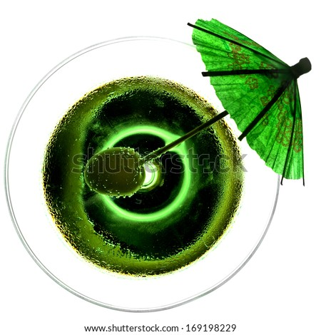 Abstract view of green cocktail with olive - stock photo