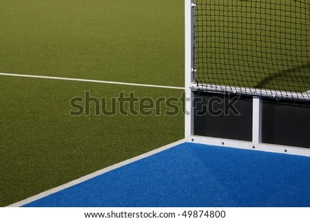 Abstract view of hockey goals on an Astroturf playing field