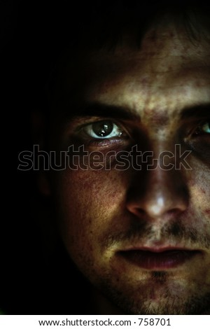 abstract view of man - stock photo