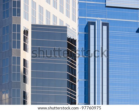 Abstract view of modern downtown skyscraper office windows. This is Calgary office building in downtown. Many Oil company's headquarters are in Calgary. - stock photo