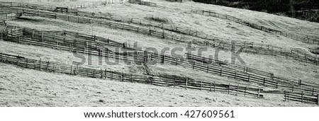 abstract view of mountain meadow, rural fences all over, black and white image