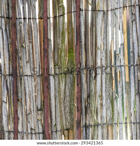 Abstract view of old rotten reeds fence - stock photo