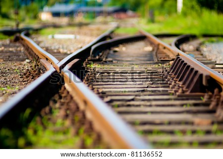 Abstract view of railroad turnout - stock photo