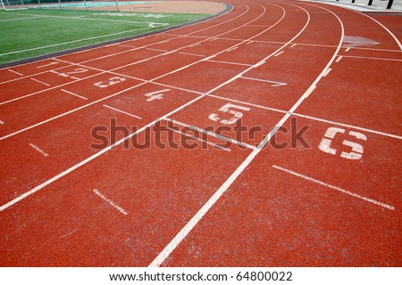 Abstract view of running track - stock photo