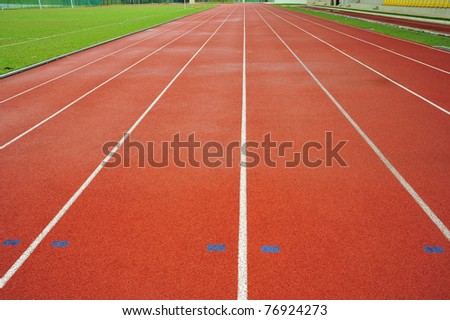 Abstract View Of Running Tracks In A Sport Stadium - stock photo