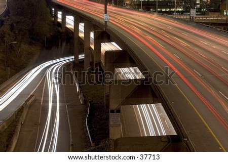 Abstract view of Seattle's I-5 highway at night. - stock photo
