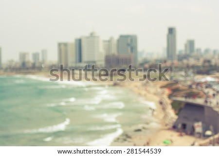 Abstract view of Tel Aviv shoreline - Filtered image - stock photo