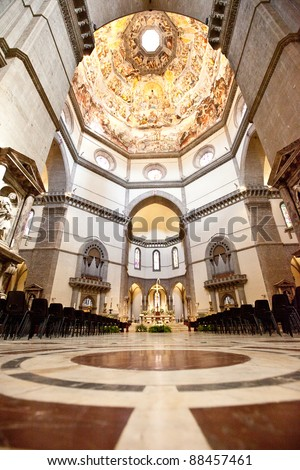abstract view of the altar inside the Duomo in florence italy - stock photo