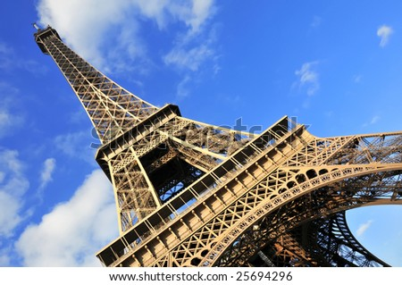 Abstract view of the Eiffel Tower in Paris, France. - stock photo