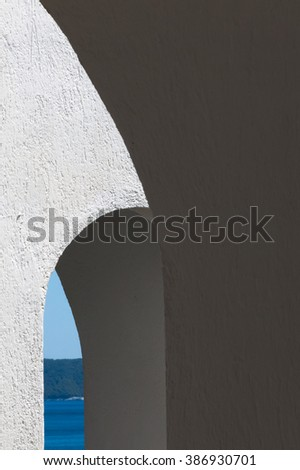 Abstract view of the sea from a Greek hotel. Images from the Greek Islands of Skopelos and Skiathos, popular tourist destinations in the Mediterranean. - stock photo