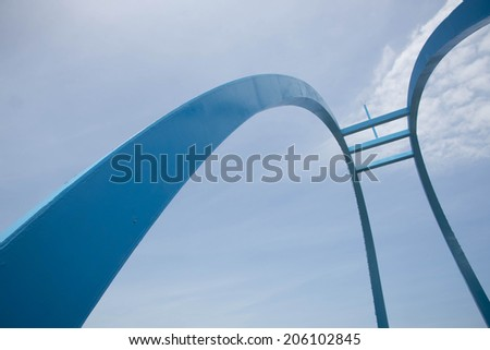 Abstract view of the Wang Gong Bridge support against a blue sky in Changhua. - stock photo