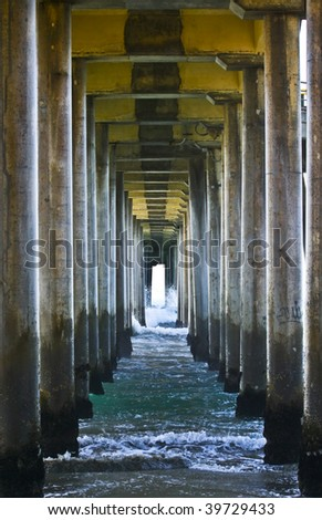 Abstract View Underneath Pier - stock photo