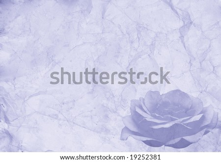 Abstract vintage background (blue old paper with a rose in the corner)