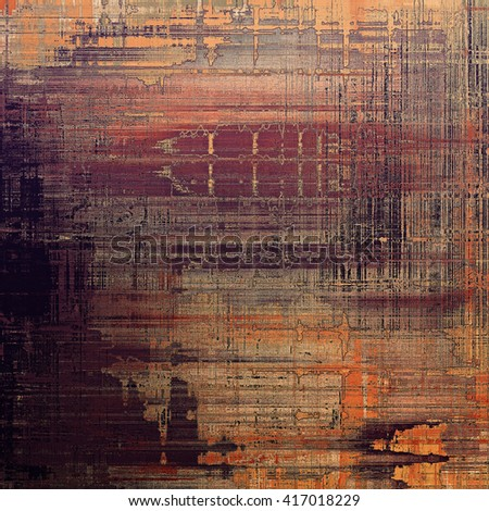 Abstract vintage background with faded grungy texture. Aged backdrop with different color patterns: yellow (beige); brown; gray; red (orange); purple (violet) - stock photo