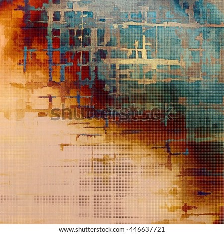 Abstract vintage background with faded grungy texture. Aged backdrop with different color patterns: yellow (beige); brown; gray; blue; red (orange); cyan - stock photo