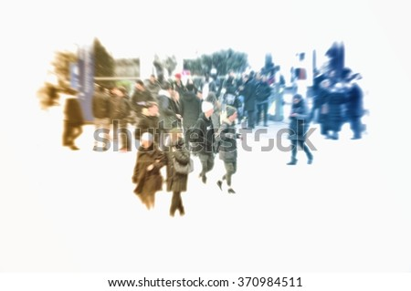 Abstract vintage blurred people walking in shopping center. - stock photo