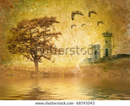 abstract vintage landscape - stock photo