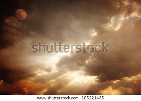 abstract vintage moon and cloudy sky background
