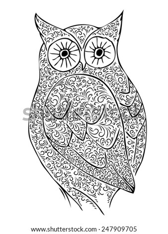 Abstract Vintage Owl Over White Background - stock photo