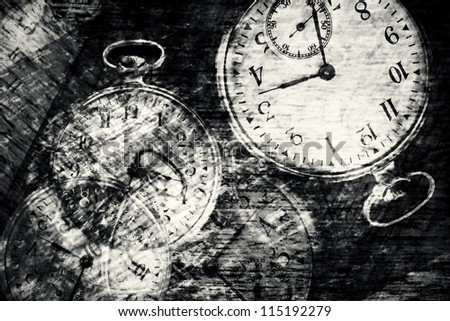 Abstract vintage time conceptual- sepia toned - stock photo