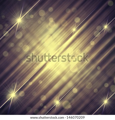 abstract vintage violet grey background with shining yellow lines and stars - stock photo