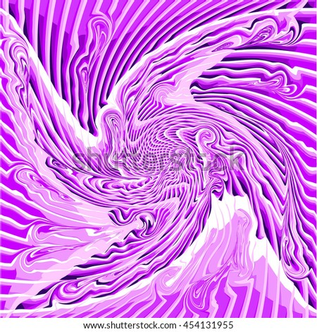 Abstract Violet and Pink Curved Pattern. The Distortion of Space. Striped Texture Structure. Raster 3d Illustration - stock photo