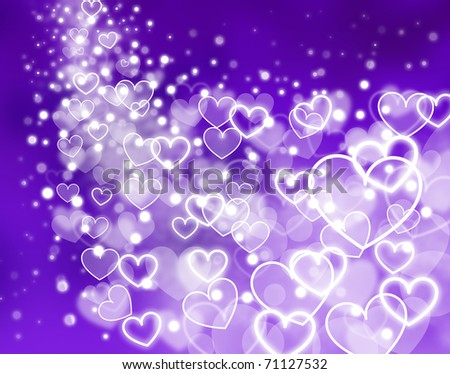 Abstract Violet Background   Glowing Hearts