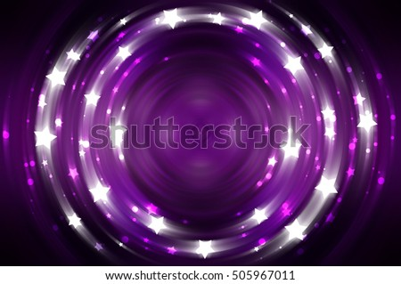 Abstract violet background with crossing circles and ovals. disco lights. motion illustration.