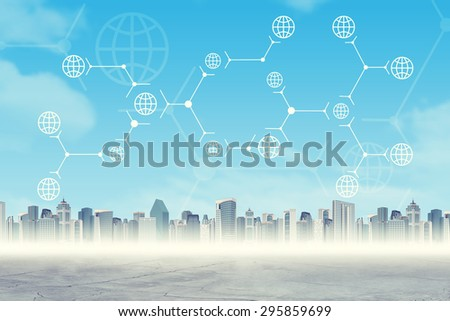 Abstract virtual background with cityscape and connected dots - stock photo
