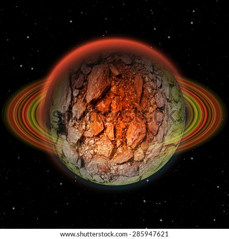 Abstract volcanic stone planet with red ring and hot scorching structure