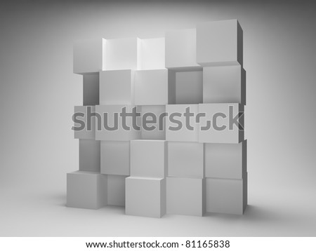 Abstract wall of empty boxes