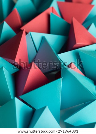abstract wallpaper consisting of multicolored pyramids - stock photo