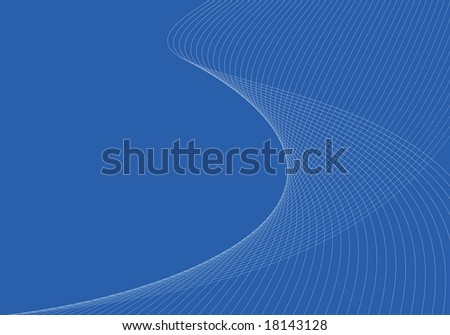 Abstract wallpaper of thin curves on blue background - stock photo