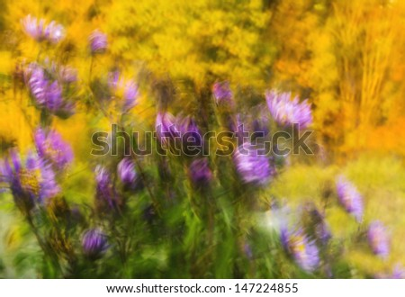 Abstract wallpaper with flowers blowing in the wind, and fall colors in the background.