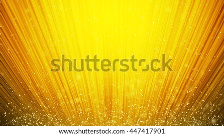Abstract warm orange swirl waves background flying golden particles in light beams - stock photo