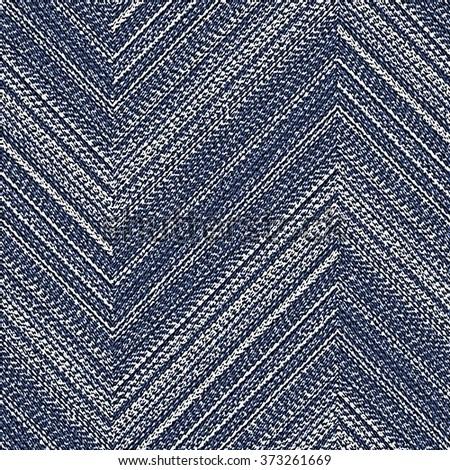 Abstract washed indigo denim motif, bold chevron strokes brushed background. Seamless pattern. - stock photo