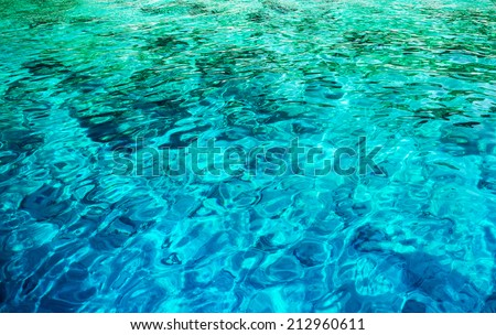 Abstract water background, beautiful transparent clear blue sea, Mediterranean sea, wonderful nature, summer vacation concept - stock photo