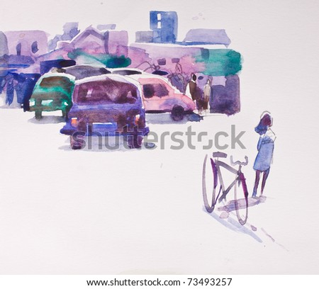 abstract water color - city scape - stock photo