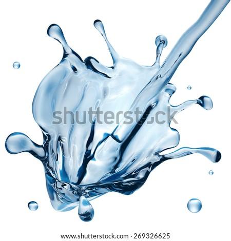 abstract water design element, 3d illustration, liquid splash isolated on white - stock photo