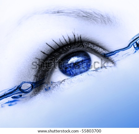 abstract water eye with many bubbles - stock photo