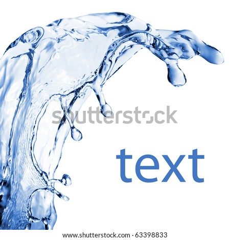 abstract water splash isolated on white - stock photo